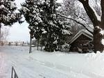 Ulkona oli kaunis talvipäivä. Markkulan pihalla taustalla häämötti Tikkurilan tornitalot